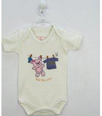 body bebê brincalhão manga curta bordado ursa no varal
