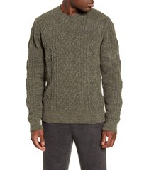 barefoot dreams(r) cozychic(tm) aran crewneck sweater, size large in olive multi at nordstrom