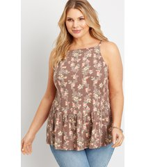 maurices plus size womens brown floral babydoll tank top