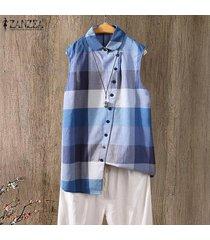 zanzea cuello vuelto para mujer casual summer tank tops camisa a cuadros a cuadros tops blusa -azul