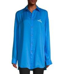 balenciaga women's silk longline shirt - blue - size 38 (6)
