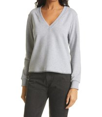 women's l'agence helena v-neck long sleeve sweatshirt, size x-small - grey