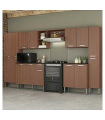 cozinha completa compacta c/ armário e balcáo c/ tampo 6 pçs pequim blues multimóveis carvalho avelá