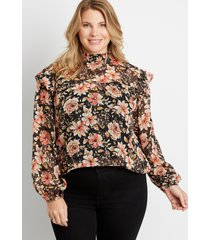 maurices plus size womens black floral smocked neck long sleeve blouse