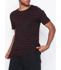 jack & jones jorhansonstripe tee ss crew neck t-shirts & linnen mörk röd