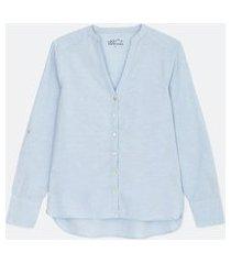 camisa manga longa lisa com decote v | marfinno | azul | g