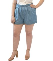 plus size women's maree pour toi paperbag waist chambray pull-on shorts, size 3x - blue