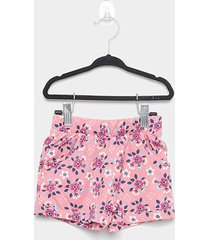 shorts infantil malwee micro floral feminino