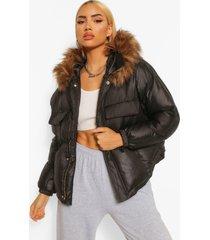 satijnen gecoate gewatteerde jas met zak detail en faux fur zoom, black