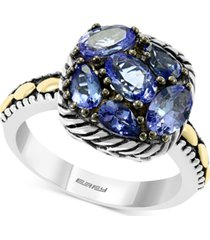 effy tanzanite statement ring (1-7/8 ct. t.w.) in sterling silver & 18k gold over silver