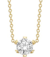 goldplated sterling silver & simulated diamond pendant necklace