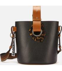 ganni women's leather bucket bag - multi