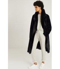 reiss demi - longline shearling coat in navy, womens, size l