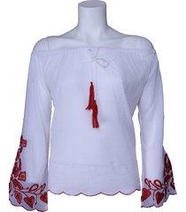 blouse phard - blusa madukar - wit / rood