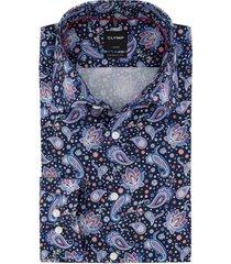 olymp overhemd modern fit navy print strijkvrij