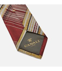 canali men's stripe contrast silk tie - red