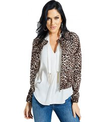 chaqueta leopard bomber multicolor guess