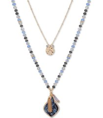 "lonna & lilly gold-tone blue bead interchangeable 36"" long necklace"