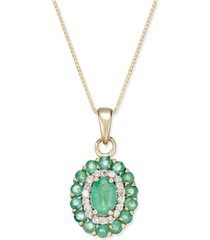 emerald (1-5/8 ct. t.w.) and diamond (1/6 ct. t.w.) oval floral pendant necklace in 14k gold