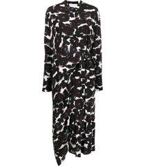 christian wijnants abstract-print tie-waist crepe midi dress - black
