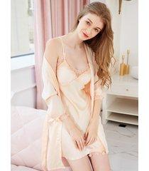 conjunto de pijama de traje de cuatro piezas de seda con cuello en v y encaje