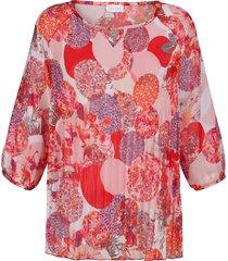 plisserad blus mona rosa::korall::vit