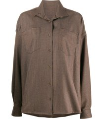 remain spread collar jacket - brown
