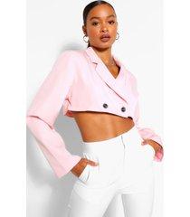 woven crop blazer, pink