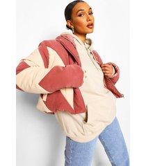 korte gewatteerde colour block jas met capuchon, rose