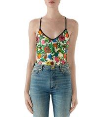 women's gucci pop flora print one-piece swimsuit