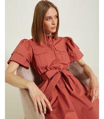 motivi vestito corto chemisier con tasche donna rosso