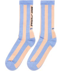 'wary meyers' stripe rib cuff tennis socks