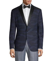 john varvatos star u.s.a. men's modern-fit patterned wool dinner jacket - navy camo - size 40 r