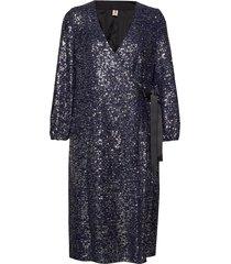 sequins everlee dress knälång klänning blå becksöndergaard