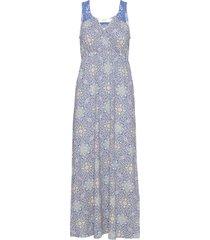 avacr long dress maxi dress galajurk blauw cream