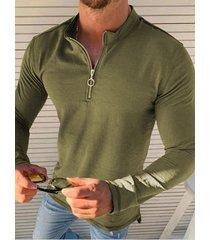 hombres otoño moda cremallera frente medio abierto casual cuello henry camisa