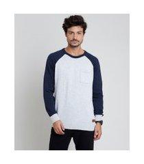 suéter masculino tricô com bolso raglan cinza mescla claro