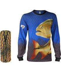 camisa + máscara pesca quisty dourado o rei do rio azul proteção uv dryfit infantil/adulto - camiseta de pesca quisty