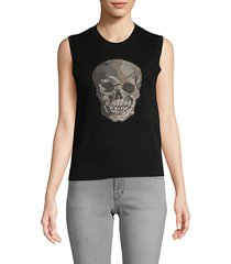 shine skull cashmere sleeveless top
