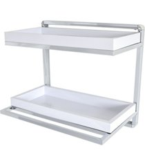 danya b. wall mount 2-tier chrome shelving unit with towel rack and trays