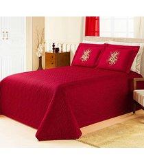 cobre leito  queen berlim vermelho com 5 peã§as em algodã£o e poliã©ster - ione enxovais - vermelho - dafiti