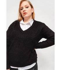 sweater brave soul negro - calce regular