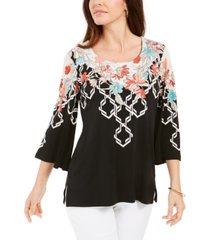 jm collection printed flared-sleeve top, created for macy's