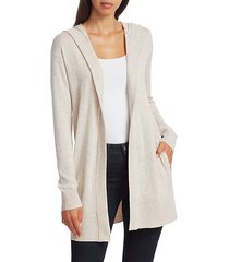 hooded open-front cardigan sweater