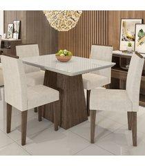 mesa de jantar 4 lugares bárbara 1184 100% mdf castanho/off white/wd22 - new ceval