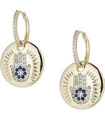 18k goldplated blue & white cubic zirconia hamsa coin drop earrings