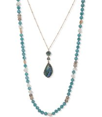 """lonna & lilly gold-tone bead & stone 2-in-1 36"""" layered necklace"""