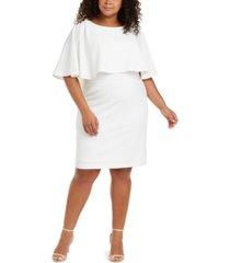 calvin klein plus size cape-overlay sheath dress