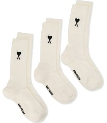 ami paris embroidered logo socks - white