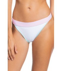 women's roxy pastel surf colorblock bikini bottoms, size medium - white
